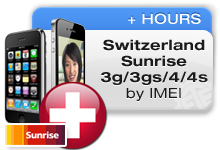 Switzerland Sunrise iPhones 3G/3GS/4/4S