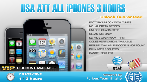 USA ATT All iPhones 3 hours